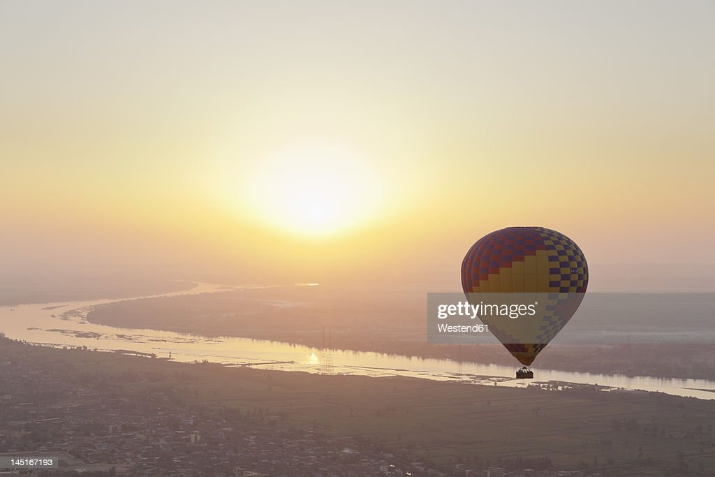 Egypt, View of hot air balloon over Westbank in Luxor