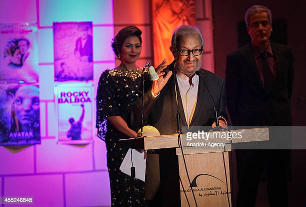 Egyptian actor Nour ElSherif gives a speech after receiving his award during the 30th Alexandria Film Festival in Alexandria Egypt on September 10...