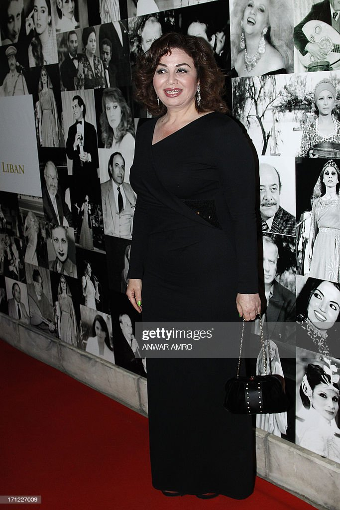 Egyptian actress Elham Shahin arrives for the 13eme Murex D'or Festival taking place at the Casino Du Liban, north of the capital Beirut, on June 23, 2013.