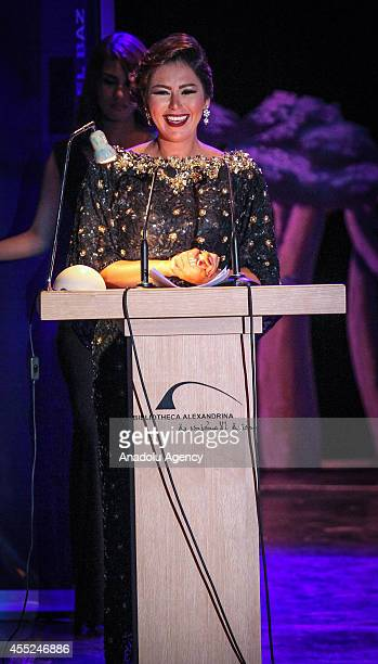 Egyptian actress Lekaa El Khamisy poses as the announcer of the 30th Alexandria Film Festival in Alexandria Egypt on September 10 2014 The film...