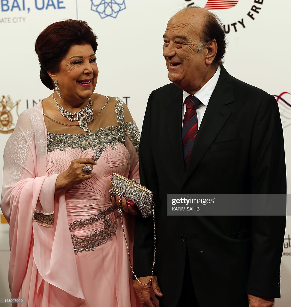 Egyptian actress Raja al-Jadawi (L) and Egyptian actor Hassan Hussein attend the opening ceremony of the Dubai International Film Festival in the Gulf emirate of Dubai on December 9, 2012. AFP PHOTO/KARIM SAHIB