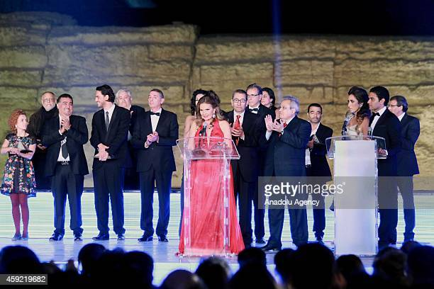 Egyptian actress Yousra gives a speech during the closing ceremony of 36th Cairo International Film Festival at the Giza plateau in Cairo Egypt on...