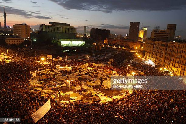 Egyptian antigovernment demonstrators gather at Cairo's Tahrir Square on February 10 2011 on the 17th day of consecutive protests calling for the...