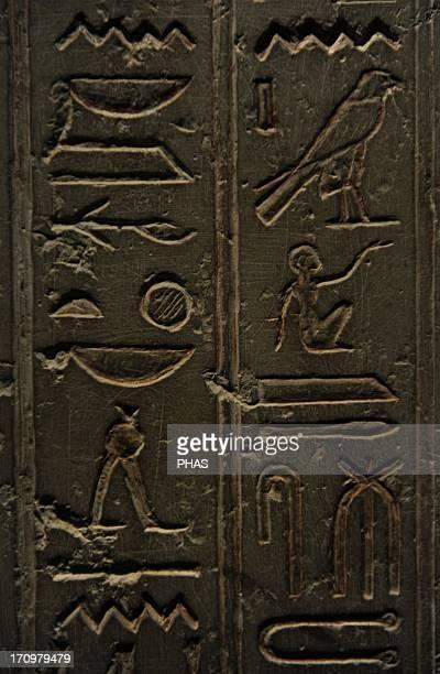Egyptian Art Sarcophagus of NesiHor C 200 BC Detail Hieroglyphic writing Ptolemaic Egypt Carlsberg Glyptotek Museum Copenhagen Denmark