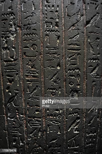Egyptian Art Sarcophagus of Thutnakht C 200 BC Ptolemaic Egypt Detail Hieroglyphic writing Carlsberg Glyptotek Museum Copenhagen Denmark