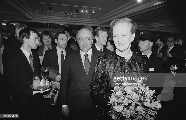 Egyptian businessman Mohamed AlFayed with Queen Margrethe II of Denmark in the food hall of Harrods his London department store 6th April 1989