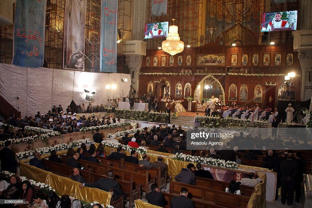 Egyptian Christians attend the Holy Saturday mass led by the Pope Tawadros II of Alexandria at the Saint Mark Cathedral in the Abbassia neighborhood in Cairo, Egypt on April 30, 2016.