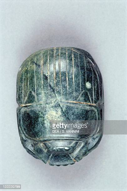 Egyptian civilization Late Period Dynasty XXVI Scarab From Bahariya Oasis Sheik Souby Governor's Tomb Tomb of Nassa