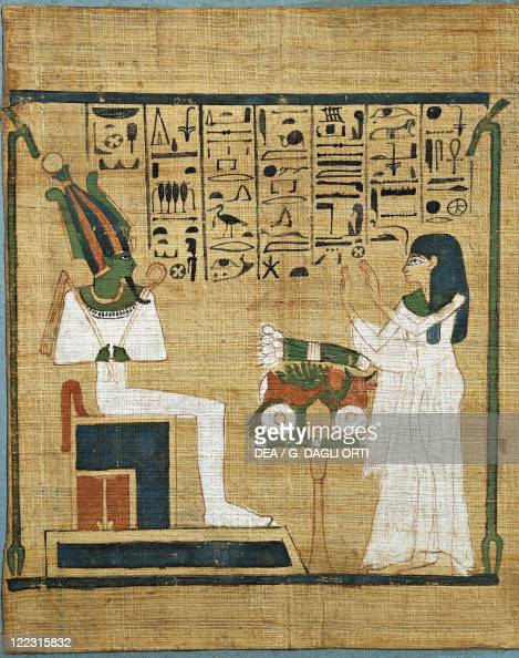Egyptian civilization Late Period Papyrus with scene of offering to Osiris and hieratic inscription circa 1000 bC