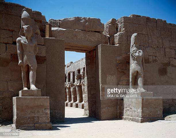 Egyptian civilization New Kingdom Dynasty XX Ancient Thebes Luxor Karnak Temple complex of Amon Support column from the Temple of Ramses III with the...