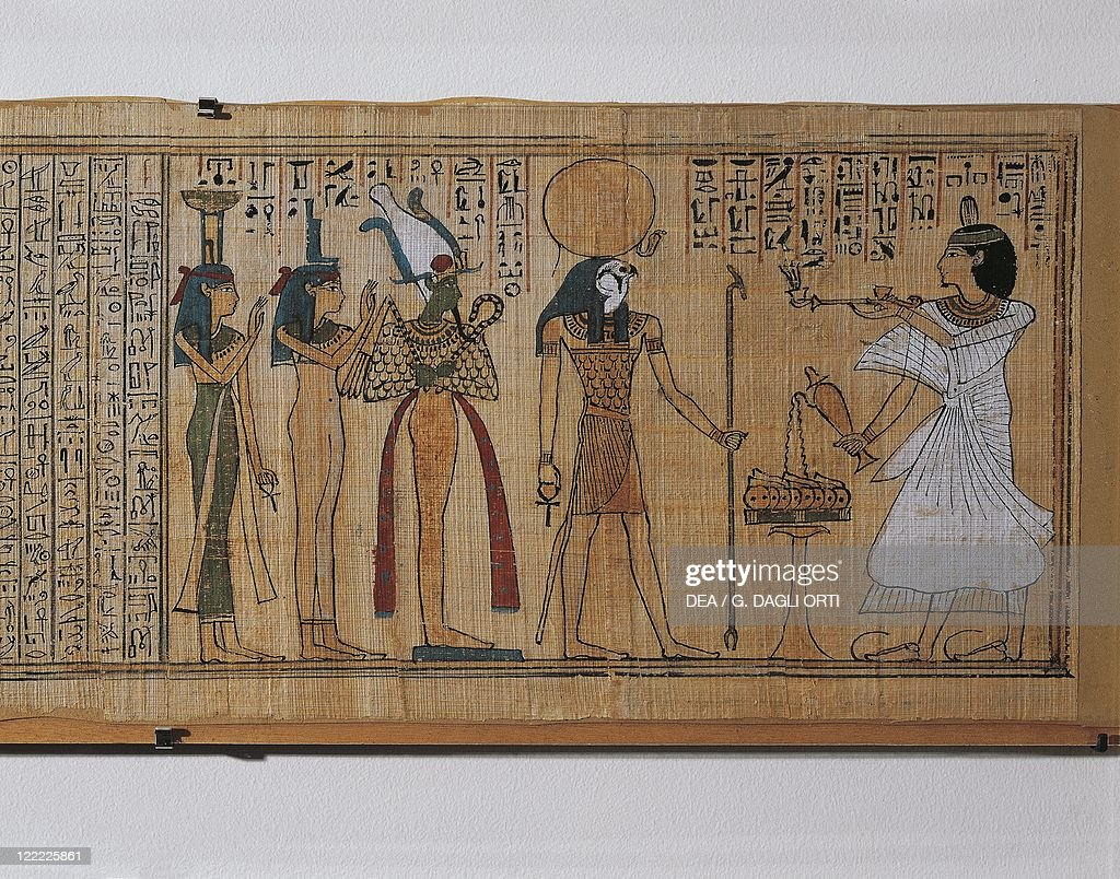 Egyptian civilization New Kingdom Dynasty XX Book of the Dead of KhonsumesThe deceased burning incense before Horus Osiris Isis and Nephthys