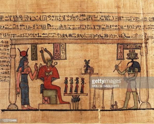 Egyptian civilization Ptolemaic period Papyrus from the First Book of Breathing of Ousirour 150100 bC Thoth weighing the soul of Ousirour before Isis...
