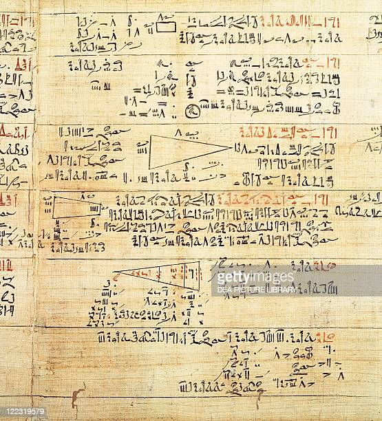 Egyptian civilization Rhind Mathematical Papyrus written in hieratic script circa 1650 bC