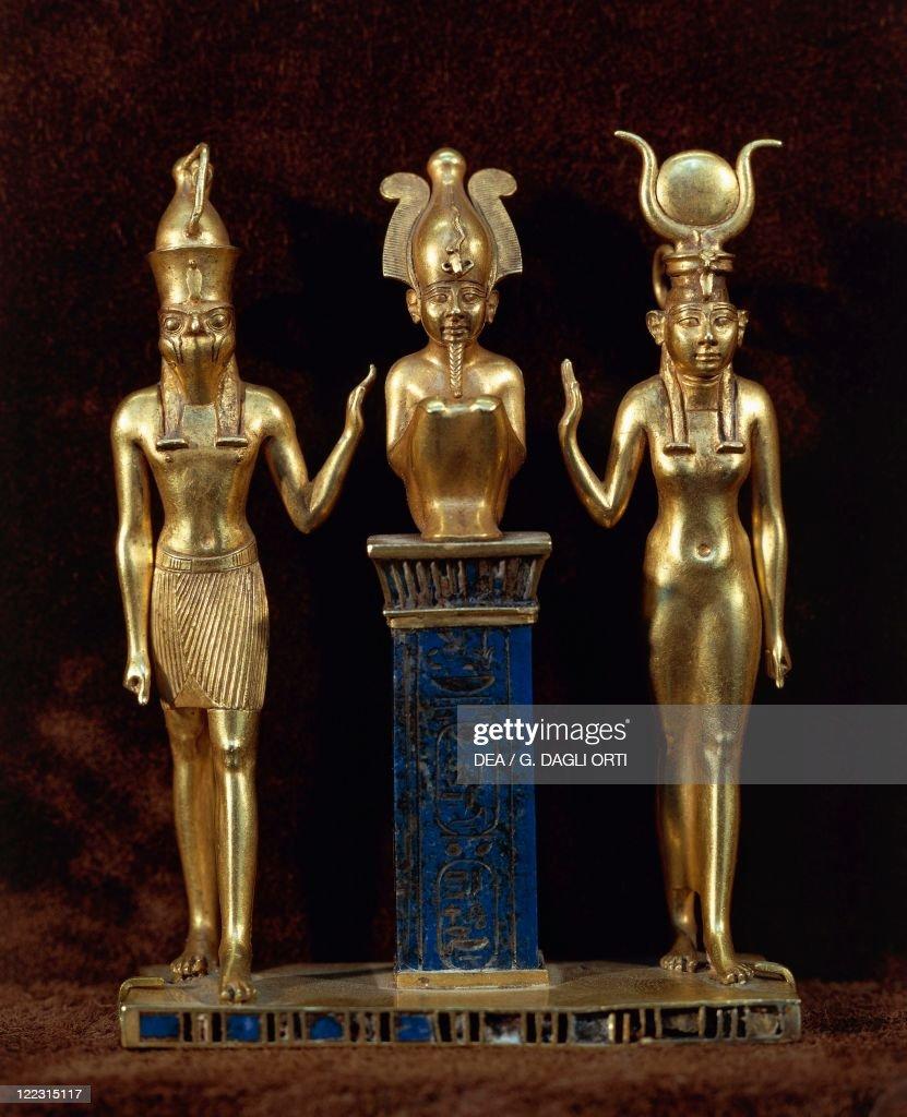 Egyptian civilization Third Intermediate Period Dynasty XXII Goldsmith art King Osorkon II pendant in gold and lapis lazuli depicting the god Osiris...