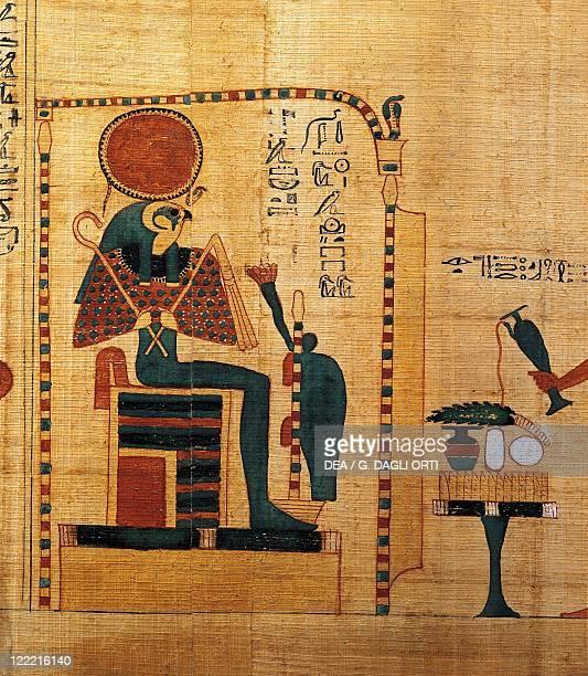 Egyptian civilization Third Intermediate Period Dynasty XXIXXII Mythological papyrus of Imenemsauf Chief bearer of Amon Detail god RaHarakhti