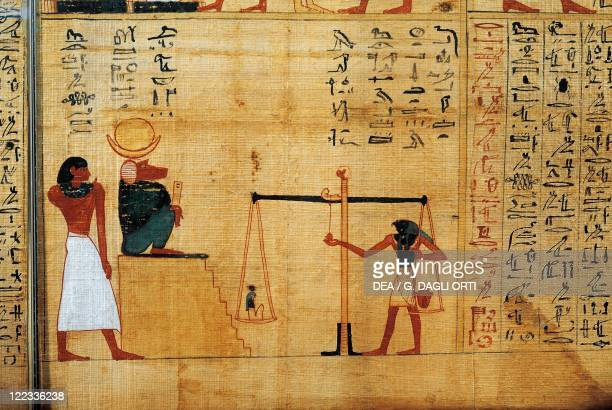 Egyptian civilization Third Intermediate Period Dynasty XXIXXII Mythological papyrus of Imenemsauf Chief bearer of Amon Detail weighing of the soul...