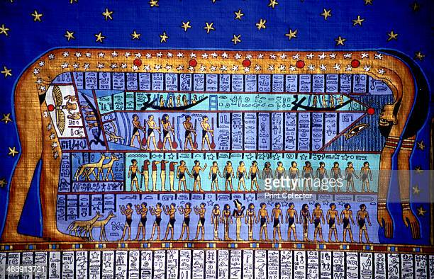 Egyptian cosmos The Goddess Nut bending to form the sky Papyrus copy based on late Egyptian temple at Denderah