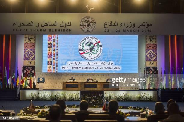 Egyptian Defence Minister Sedki Sobhi and Secretary General of the Community of SahelSaharan States Ibrahim Sani Abani and the CENSAD rapporteur...