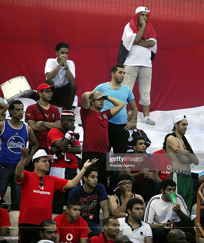 Egyptian fans cheer during the 2014 World Cup African qualifying first leg play-off match between Ghana and Egypt on October 15, 2013 at Baba Yara Stadium in Kumasi of Ashanti, Ghana.