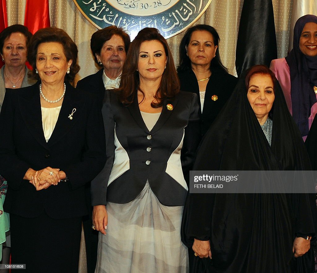 Egyptian first lady Susan Mubarek(L), Tunisian first lady <a gi-track='captionPersonalityLinkClicked' href=/galleries/search?phrase=Leila+Ben+Ali&family=editorial&specificpeople=3198746 ng-click='$event.stopPropagation()'>Leila Ben Ali</a> and Bahrein's sheikha Sebika Bent Ibrahim Al Khalifa(R) pose for photographers during the opening ceremony for the Third Arab Women's Organization Conference 'The arab woman in sustainable development' on October 28, 2010 in Tunis.