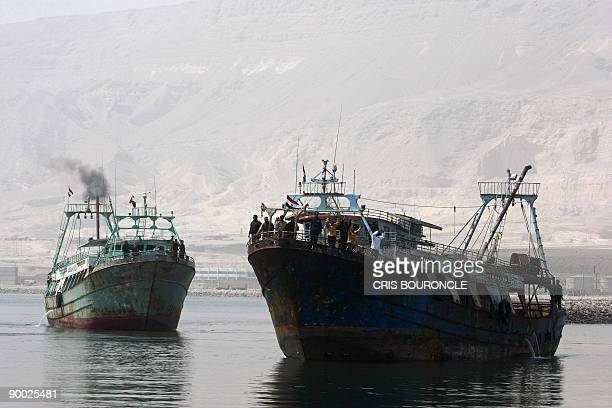 Egyptian fishing ships Ahmad Samara and Momtaz I arrive at the port in Ataka 170 kms northeast of Cairo on August 23 2009 Thirtyfour Egyptian...