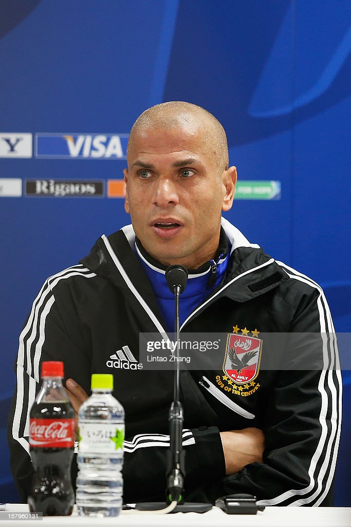 Egyptian football club team Al Ahly defender Wael Gomaa answers a question during the press conference at Toyota Stadium on December 8, 2012 in Toyota, Japan.