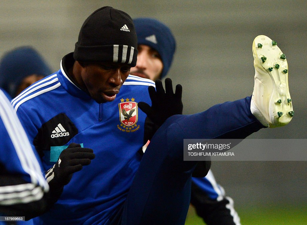 Egyptian football club team Al Ahly forward Dominique Da Silva (C) works out during an official team training session for the 2012 Club World Cup in Japan tournament at Toyota Stadium in Toyota, Aichi prefecture on December 8, 2012. The African champions will make an emotional return to the international stage on December 9 when they play Sanfrecce Hiroshima for a place in the semi-finals of the showpiece event in Japan.