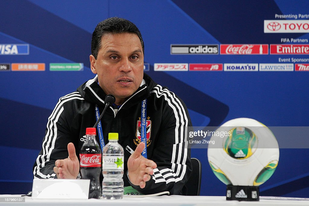 Egyptian football club team Al Ahly head coach Hossam El-Badry answers a question during press conference at Toyota Stadium on December 8, 2012 in Toyota, Japan.