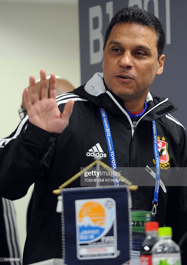 Egyptian football club team Al Ahly head coach Hossam El-Badry arrives for a press conference prior to an official team training session for the 2012 Club World Cup in Japan tournament at Toyota Stadium in Toyota, Aichi prefecture on December 8, 2012. The African champions will make an emotional return to the international stage on December 9 when they play Sanfrecce Hiroshima for a place in the semi-finals of the showpiece event in Japan.