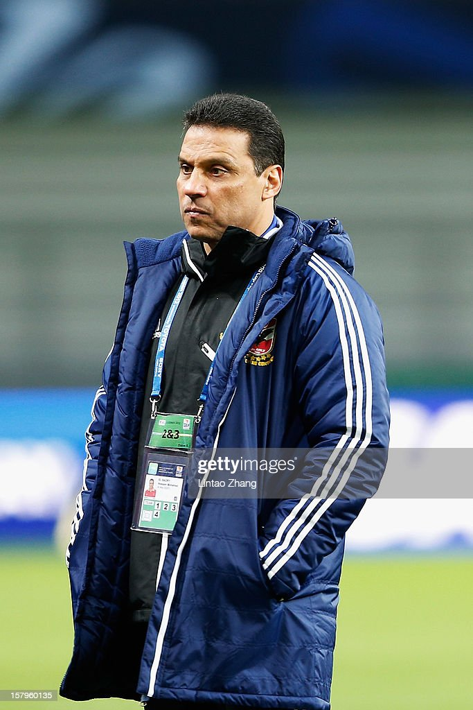 Egyptian football club team Al Ahly head coach Hossam El-Badry looks on during the Al Ahly training session at Toyota Stadium on December 8, 2012 in Toyota, Japan.