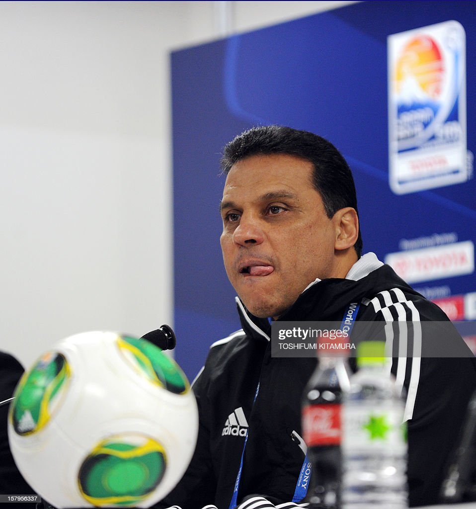 Egyptian football club team Al Ahly head coach Hossam El-Badry takes part in a press conference prior to an official team training session for the 2012 Club World Cup in Japan tournament at Toyota Stadium in Toyota, Aichi prefecture on December 8, 2012. The African champions will make an emotional return to the international stage on December 9 when they play Sanfrecce Hiroshima for a place in the semi-finals of the showpiece event in Japan.