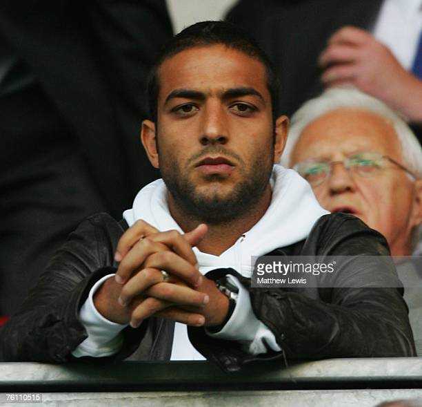 Egyptian footballer Mido looks on from the stands during the Barclays Premiership match between Wigan Athletic and Middlesbrough at the JJB Stadium...