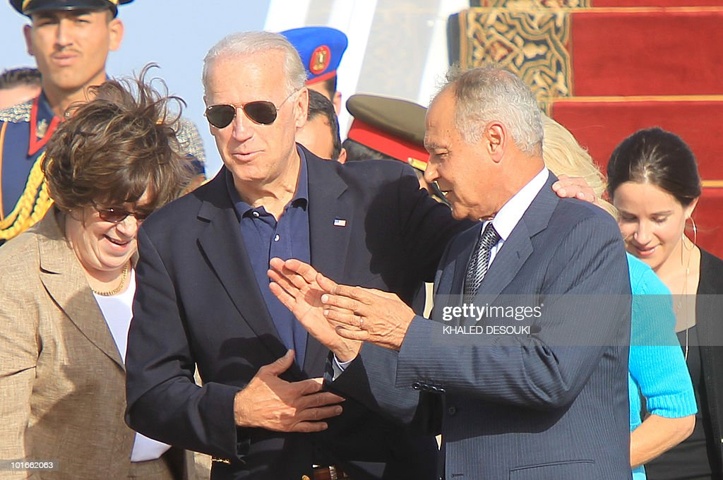 Egyptian Foreign Minister Ahmed Aboul Gheit (R) receives the U.S. Vice President Joe Biden at Sharm el-Sheikh Airport along the Red Sea on June 6, 2010, for a meeting with President Hosni Mubarak on the first leg of an African tour.