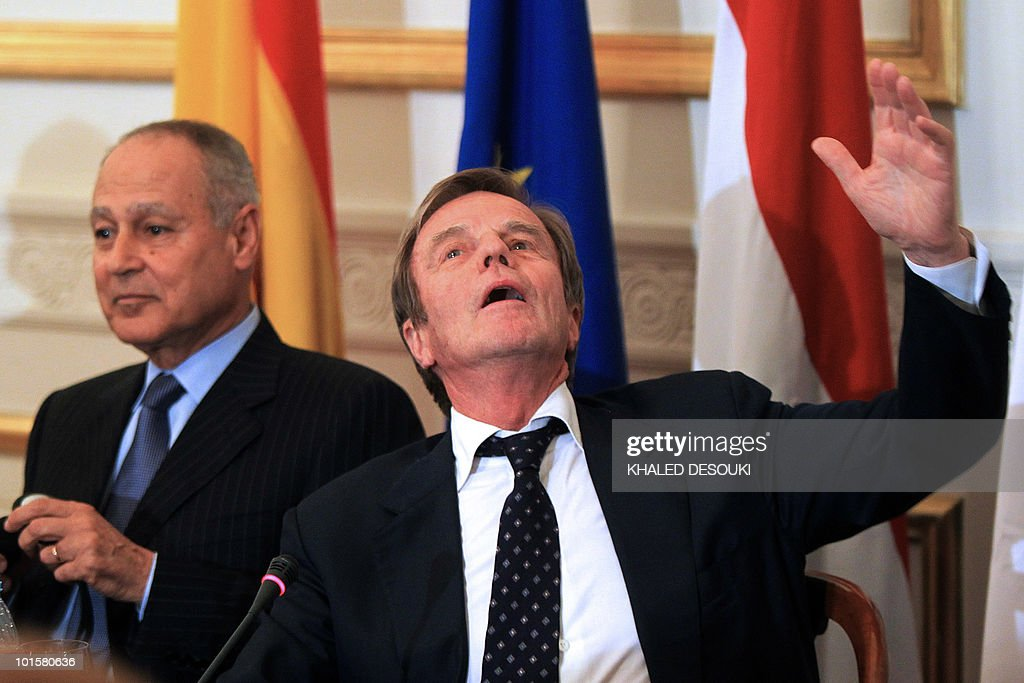 Egyptian Foreign Minister Ahmed Abul Gheit (L) looks on as his French counterpart Bernard Kouchner gestures during a press conference in Cairo on May 23, 2010. Kouchner welcomed an easing of tensions between Israel and its Arab neighbours, as he visited Beirut and Damascus before Cairo to urge respect for a 2006 ceasefire in Lebanon. The French minister attributed the new climate to the launch of US-mediated indirect peace talks between Israel and the Palestinians, as well as to a 'clarification' of Iran's controversial nuclear programme.