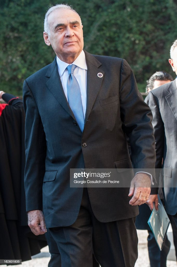Egyptian Foreign Minister Mohammed Kamel Amr arrives to attend a meeting of the 'Friends of the Syrian People' attended by US Secretary John Kerry, at Villa Madama on February 28, 2013 in Rome, Italy. Kerry stated that the opposition needs 'more help' in the fight against President Bashar Hafez al-Assad. The new U.S. Secretary of State is on his first trip and is visiting nine nations in Europe and the Middle East.