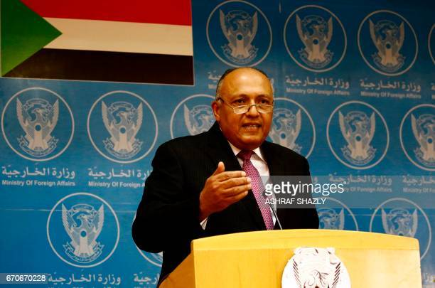 Egyptian Foreign Minister Sameh Shokry speaks during a press conference with his in Sudanese counterpart in Khartoum on April 20 2017 Relations...