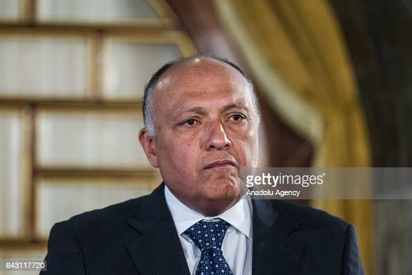 Egyptian Foreign Minister Sameh Shoukry attends a joints press conference with Tunisian Foreign Minister Khemaies Jhinaoui and Algerian Minister for...