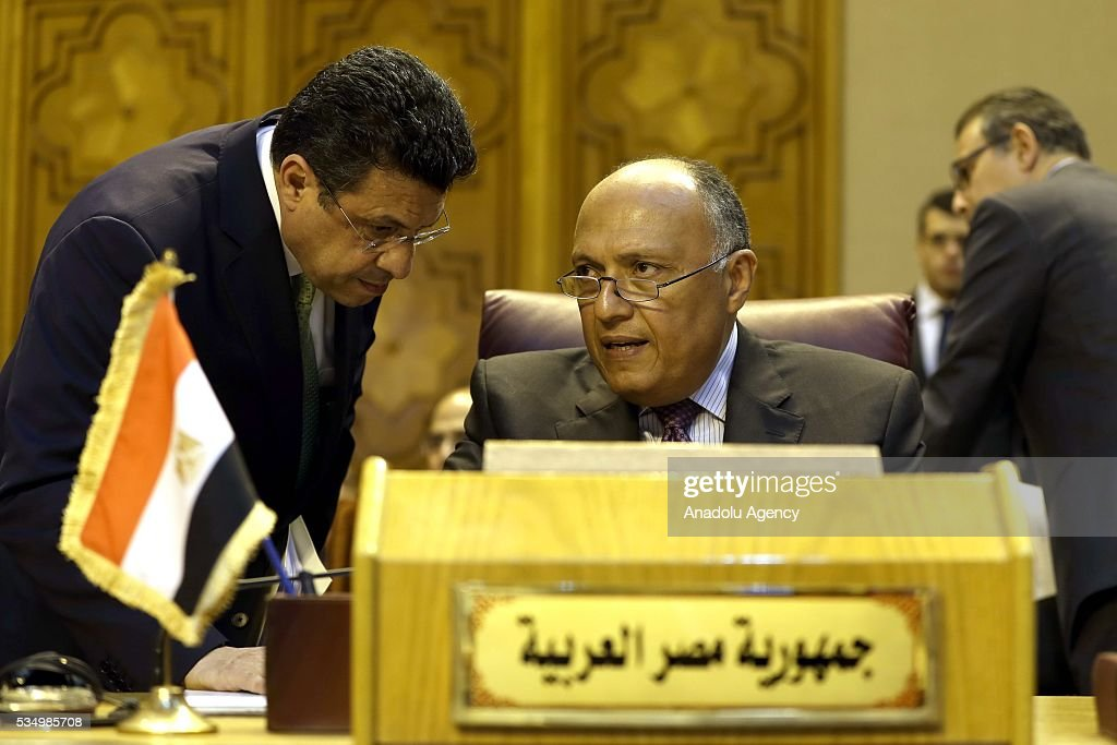 Egyptian foreign minister Sameh Shoukry attends a meeting of Arab foreign ministers to discuss a French peace initiative in Cairo on May 28, 2016.