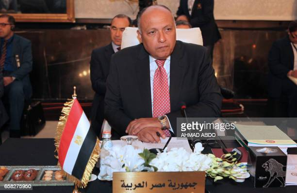 Egyptian Foreign Minister Sameh Shoukry attends the preparatory meeting of Arab Foreign Ministers during the 28th Summit of the Arab League at the...