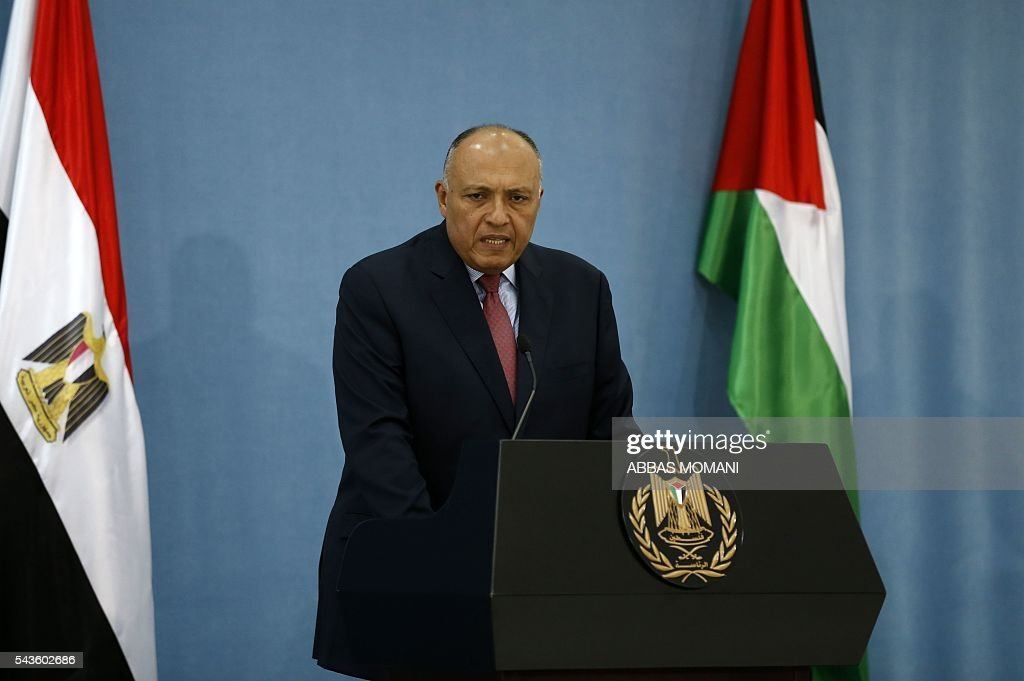 Egyptian Foreign Minister Sameh Shoukry speaks during a joint press conference with his Palestinian counterpart at the Palestinian authority headquarters in the West Bank city of Ramallah on June 29, 2016. / AFP / ABBAS