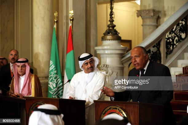 Egyptian Foreign Minister Sameh Shoukry talks to reporters during a joint press conference with UAE Minister of Foreign Affairs and International...