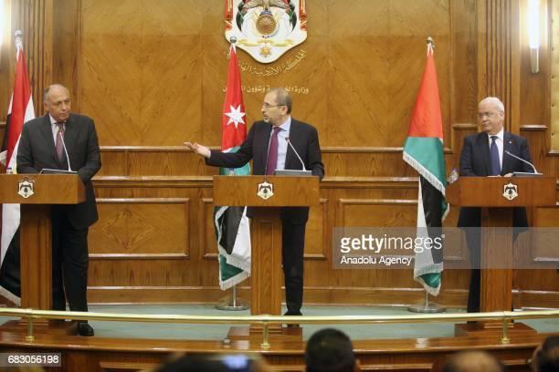 Egyptian Foreign Minister Sameh Shukri Jordan's Foreign Minister Ayman Al Safadi and SecretaryGeneral of the Palestine Liberation Organization...
