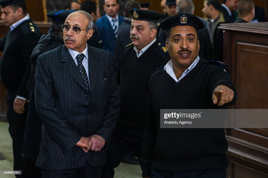 Egyptian former interior minister Habib al-Adly (L) arrives to Police Academy for his trial on the charges of corruption, in Cairo, Egypt on February 7, 2016. Habib al-Adly served as interior minister of Egypt from 1997 to 2011, he was the longest serving interior minister under President Hosni Mubarak.