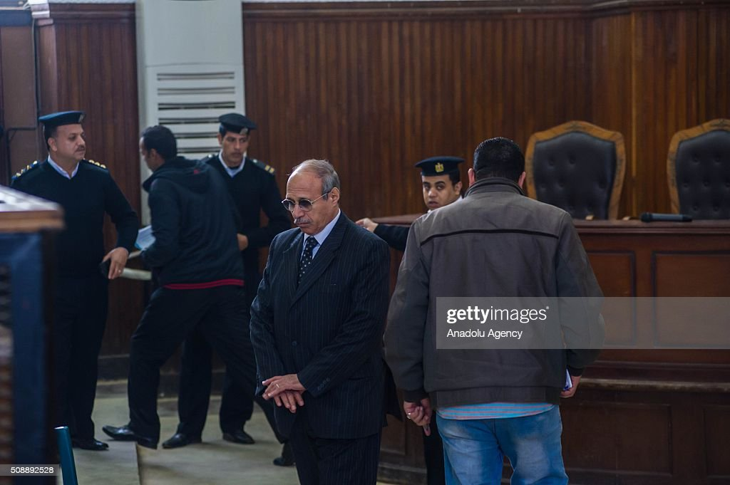 Egyptian former interior minister Habib al-Adly (2nd R) arrives to Police Academy for his trial on the charges of corruption, in Cairo, Egypt on February 7, 2016. Habib al-Adly served as interior minister of Egypt from 1997 to 2011, he was the longest serving interior minister under President Hosni Mubarak.