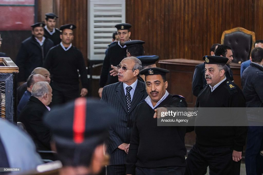 Egyptian former interior minister Habib al-Adly (C) arrives to Police Academy for his trial on the charges of corruption, in Cairo, Egypt on February 7, 2016. Habib al-Adly served as interior minister of Egypt from 1997 to 2011, he was the longest serving interior minister under President Hosni Mubarak.