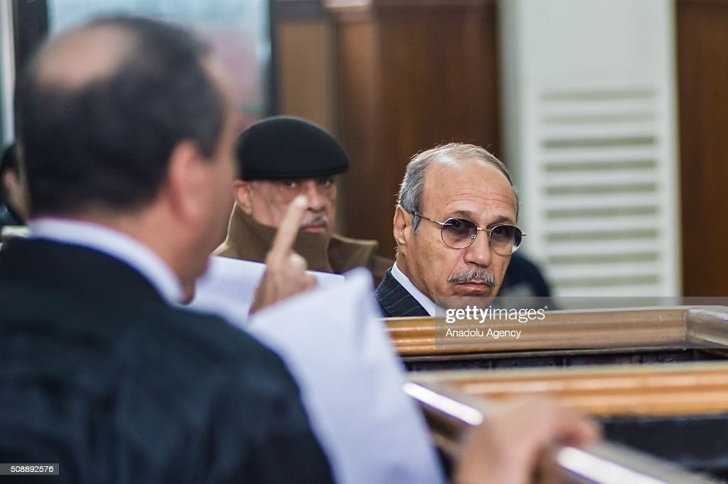 Egyptian former interior minister Habib al-Adly (R) is seen at Police Academy for his trial on the charges of corruption, in Cairo, Egypt on February 7, 2016. Habib al-Adly served as interior minister of Egypt from 1997 to 2011, he was the longest serving interior minister under President Hosni Mubarak.