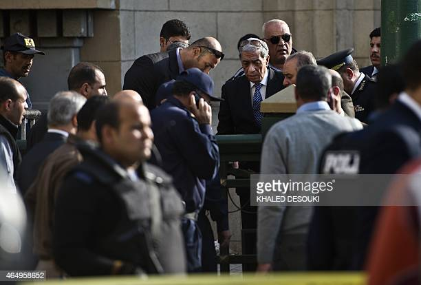 Egyptian general Prosecutor Hisham Barakat visits the site of an explosion outside the Egyptian supreme court in down town Cairo on March 2 2015...