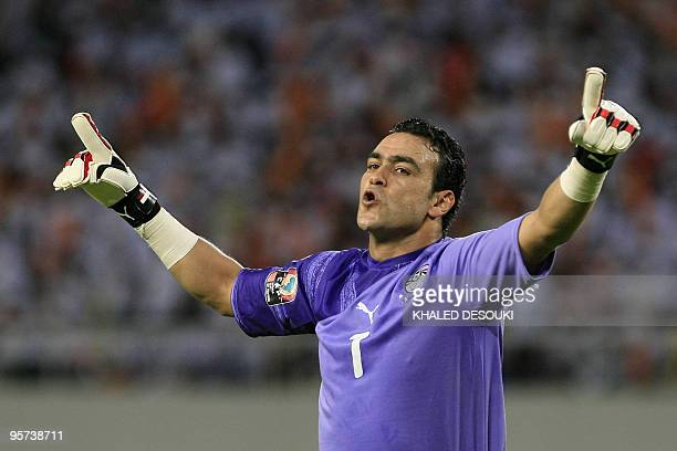 Egyptian goalkeeper Esam elHadary celebrates after his team beat Nigeria in their group �C� stage match at the African Cup of Nations CAN2010 at the...