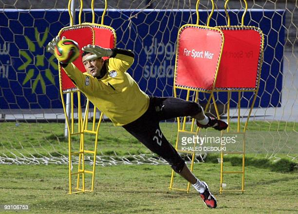 Egyptian goalkeeper Essam alHadary attends a training session with his team in Khartoum on November 16 2009 Sudanese police were on high alert as...