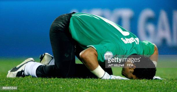 Egyptian goalkeeper Essam El Hadary celebrates after their victory over Italy in the FIFA Confederations Cup Group A match between Egypt and Italy at...
